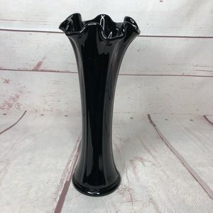 "Antique Black Amethyst Glass Vase 9.5"" Halloween"